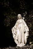 Antique Blessed Virgin Mary Sculpture in Foliage Royalty Free Stock Images