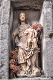 Antique Blessed Virgin Statue in Church Alcove Royalty Free Stock Image