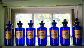 Antique Blue Apothecary Bottles. Sit on a window sill Stock Image