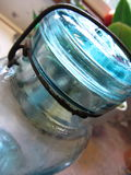 Antique Blue Canning Jar with Metal Bale Royalty Free Stock Images