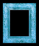 antique blue frame isolated on black background, clipping path Stock Image