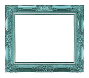 Antique blue frame isolated on white background, clipping path Royalty Free Stock Photo