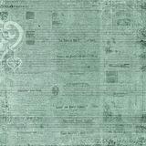 Antique blue green newspaper Text Background Royalty Free Stock Photo