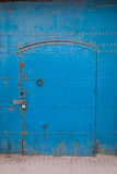 Antique blue metallic door Stock Photography