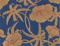 Antique Blue Satin Floral Fabric Stock Images