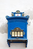 Antique blue wall mailbox on white background Royalty Free Stock Photography