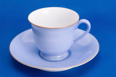 Antique blue and white cup with matching saucer Royalty Free Stock Photography