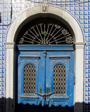 Antique blue wooden door. Royalty Free Stock Photography