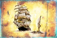 Antique boat sea drawing handmade royalty free illustration