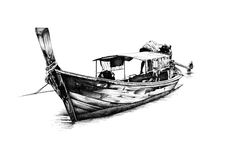 Antique boat sea motive drawing handmade Royalty Free Stock Images