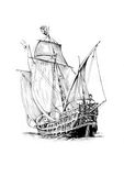 Antique boat sea motive drawing handmade Royalty Free Stock Photos