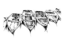 Antique boat sea motive drawing handmade Stock Photo