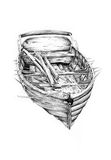 Antique boat sea motive drawing handmade Royalty Free Stock Photography