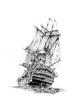 Antique boat sea motive drawing handmade Stock Images