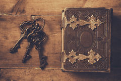 Antique book cover, with brass clasps Stock Photos