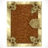 Antique book cover shut with leather texture and skulls Royalty Free Stock Photography