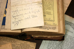 Antique Book, Family Papers, Newspaper Clippings Royalty Free Stock Photography