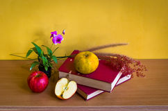 Antique book with flower and fruit Royalty Free Stock Image