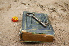Antique Book & Key stock photography