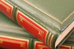 Antique book leather cover detail Stock Photo