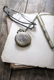 Antique book and old pocket watch Royalty Free Stock Photography