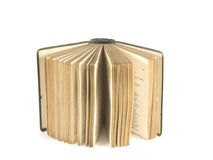 Antique book open. Vintage book standing with pages fanned open royalty free stock photos