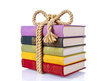Antique book pile isolated Royalty Free Stock Photo