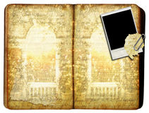Antique Book with Polaroid Stock Photo