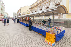 Antique book sellers at Arbat street Royalty Free Stock Photography