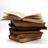 Antique Book Stack. Stack of antique books with top book open Royalty Free Stock Photography