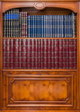 Antique bookcase with Jewish books in synagogue Royalty Free Stock Image