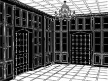 Antique Bookcase Room Vector 03 Stock Photos