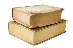 Antique Books. Two thick antique books isolated on a white background Stock Photography