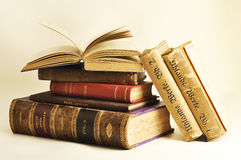 Antique books. Some old books on a white background Stock Images