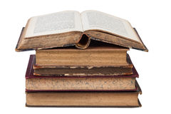 Antique books. Stack of antique books isolated on white Royalty Free Stock Images