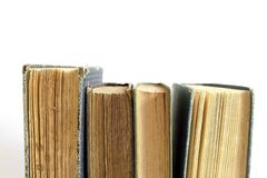 Antique Books. Beautiful antique books isolated on white background with empty space for text above Stock Photos