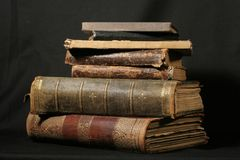 Antique books on black royalty free stock photos