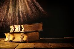 Antique books, with brass clasps. fantasy medieval period and religious concept Royalty Free Stock Image