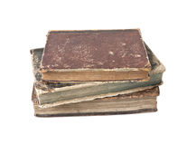 Antique books isolated. Old books with wear and tear isolated on white background Stock Photos