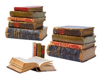 Antique books isolated stock images