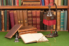Antique Books, Lamp And Glasses Royalty Free Stock Image