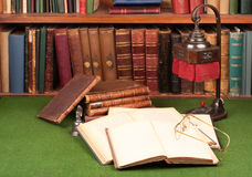 Antique Books, Lamp And Glasses Royalty Free Stock Images