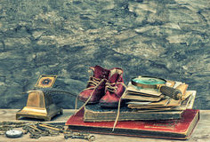 Antique books, photos, keys and writing accessories Royalty Free Stock Images