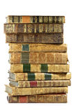 Antique books. Pile of antique books isolated on white background Stock Image