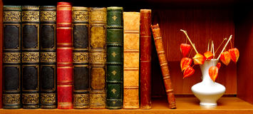 Antique books and vase with flowers Royalty Free Stock Photography