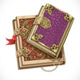 Antique books on witchcraft clasps top view Royalty Free Stock Photography