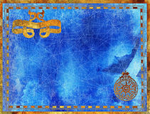 Antique border with banner and windrose on blue textured background Stock Photo