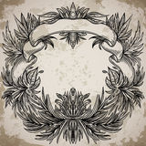 Antique border frame engraving with palm leaves and exotic flowers.  Stock Image