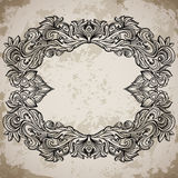 Antique border frame engraving with retro ornament pattern. Vintage design decorative element in baroque style on aged paper. Retro hand drawn vector Vector Illustration