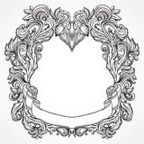 Antique border frame engraving with retro ornament pattern. Vintage design decorative element in baroque style. Stock Photos